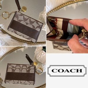 Coach monogrammed coin, card and key holder